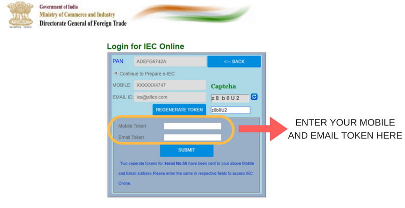 Login for fresh IEC application