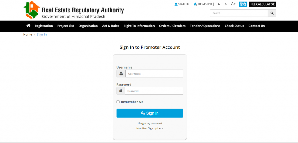 Log in to Promoter Account HP RERA