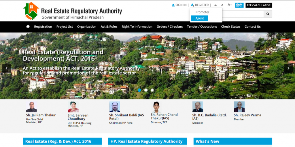 online hp rera registration for agent