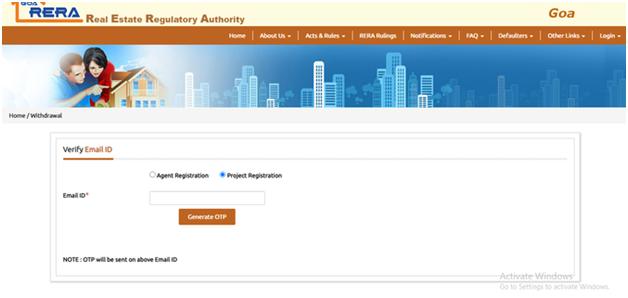 Email Verification Process Goa RERA