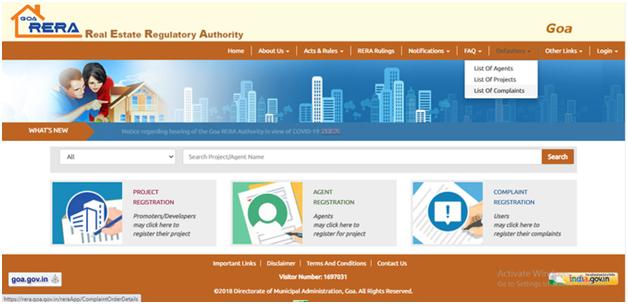 Defaulters option on Goa RERA