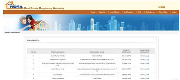 Complaint List Webpage