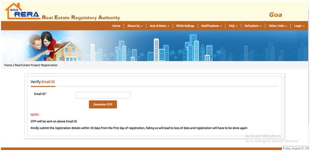 Project Registration on goa rera website