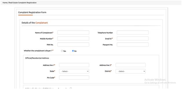 complaint registration on goa rera
