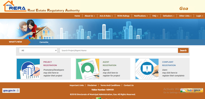 Goa RERA website