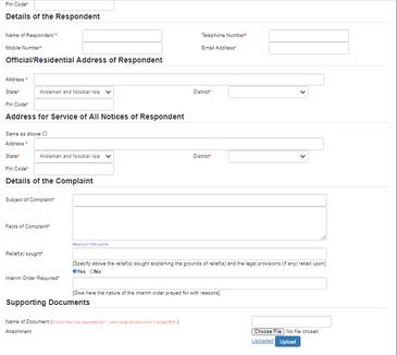 Fill the Complaint Registration Form 2