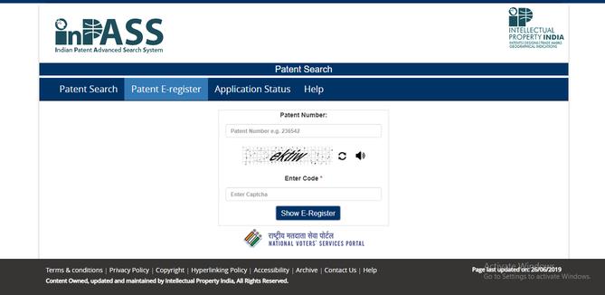 Patent E-register