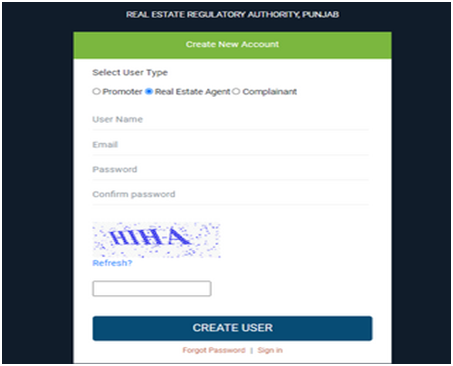 Create a New Account Punjab RERA