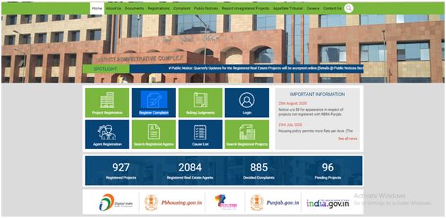 Register Complaint Tab Punjab RERA