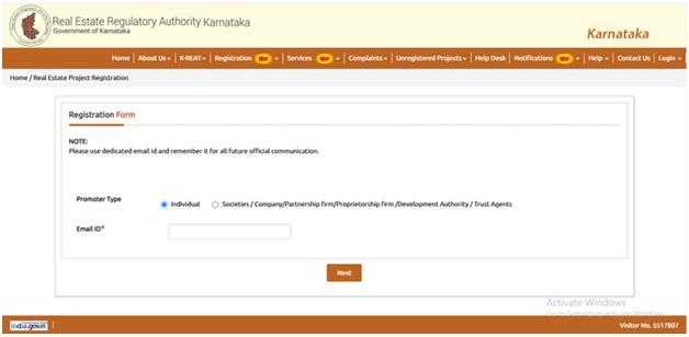 Registration Form RERA Karnataka