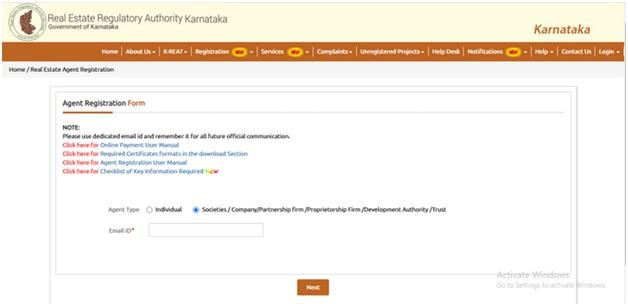 RERA Registration Form Karnataka