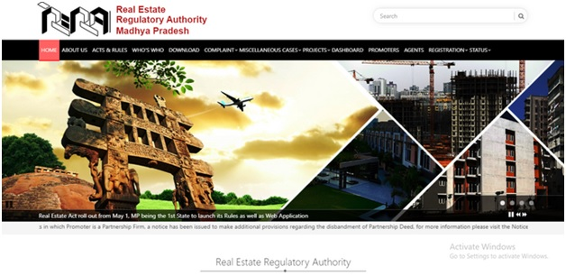 Website RERA in Madhya Pradesh