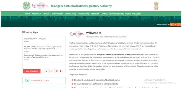 Official Website Telangana RERA