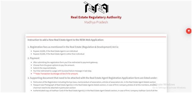 filing of RERA Web Application